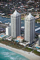 aerial photograph Blue and Green Diamond towers Miami Beach Florida