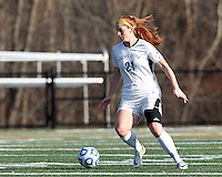 College of St Rose forward Laura Taylor (21) controls the ball at midfield. . In 2012 NCAA Division II Women's Soccer Championship Tournament First Round, College of St Rose (white) defeated Wilmington University (black), 3-0, on Ronald J. Abdow Field at American International College on November 9, 2012.
