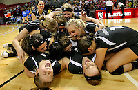 Exeter-Milligan celebrates after defeating Howells in the class D1 State Volleyball championship match at The Heartland Events Center in Grand Island. (Independent/Crystal LoGiudice).