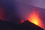 Lava and embers spew from Mt. Etna, Sicily, Italy