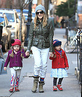 Sarah Jessica Parker with her daughters, Marion and Tabitha in New York City