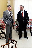 United States President Ronald Reagan talks with Judge Robert H. Bork, his nominee to be Associate Justice of the U.S. Supreme Court replacing Louis Powell, in the Residence of the White House in the afternoon of Friday, October 9, 1987..Mandatory Credit: Pete Souza - White House via CNP