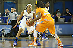 Tennessee sophomore point guard Ariel Massengale searching for a pass while being guarded by UK sophomore guard Bria Goss during the first half of the women's basketball game vs. Tennessee at Memorial Coliseum on Sunday, March 3, 2013, in Lexington, Ky. Photo by Kalyn Bradford | Staff