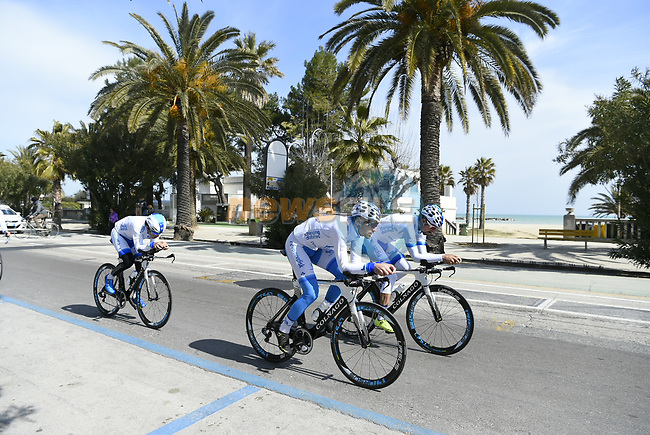 Team Novo Nordisk recon the course before Stage 7 of the 2017 Tirreno Adriatico a 10km Individual Time Trial at San Benedetto del Tronto, Italy. 14th March 2017.<br /> Picture: La Presse/Fabio Ferrari | Cyclefile<br /> <br /> <br /> All photos usage must carry mandatory copyright credit (&copy; Cyclefile | La Presse)