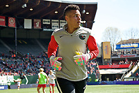 Portland, OR - Saturday April 15, 2017: Adrianna Franch prior to a regular season National Women's Soccer League (NWSL) match between the Portland Thorns FC and the Orlando Pride at Providence Park.