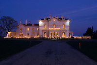 Rhode Island, Newport, Mansion lit up, dusk Christmas