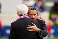 Chicago Fire head coach Frank Klopas hugs New York Red Bulls head coach Hans Backe before the match. The Chicago Fire defeated the New York Red Bulls 2-0 during a Major League Soccer (MLS) match at Red Bull Arena in Harrison, NJ, on October 06, 2012.