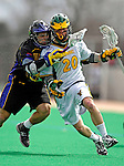 14 April 2007: University of Vermont Catamounts' Trevor Wagar, a Junior from Guelph, Ontario, in action against the University of Albany Great Danes at Moulton Winder Field, in Burlington, Vermont. The Great Danes defeated the Catamounts 14-7...Mandatory Photo Credit: Ed Wolfstein Photo