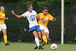 20 September 2009: Duke's Lynnea Pappas (25) and LSU's Taryne Boudreau (CAN) (16). The Duke University Blue Devils played the Louisiana State University Tigers to a 2-2 tie after overtime at Koskinen Stadium in Durham, North Carolina in an NCAA Division I Women's college soccer game.
