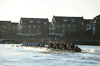 "London; GREAT BRITAIN; Oxford University Trial Eights for crew selection for 157th Boat Race Both crews in action,besides Chiswick Eyot,  with Nurture taking a lead.  [April 2011]  raced over the Championship Course Putney to Mortlake  on the River Thames. Wednesday  08/12/2010   [Mandatory Credit; ""Photo, Peter Spurrier/Intersport-images].Crews.OUBC Nature; Surrey Station.Bow, Charlie AUER, 2. Tom WATSON, 3. Dan HARVEY, 4. David WHIFFIN, 5, Karl HUDSPITH, 6. Moritz HAFNER, 7. Ben MYERS, stroke. Constantine LOULOUDIS and cox Zoe DeTOLEDO...OUBC Nurture Middx Station [White Tops].Bow, George BLESSLEY, 2. Matt POINTING, 3. Alex WOODS, 4. Alex DENT, 5. Ben ELLISON,6. Simon HISLOP, 7. George WHITTAKER, Stroke Ben SNODIN and Cox Hannah LEADBETTER.."
