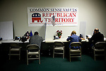 Volunteers call Republican voters at a Gingrich campaign phone bank in Reno, Nev., January 31, 2012.