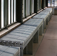 Plant History Glasshouse (formerly Australian Glasshouse), 1830s, Rohault de Fleury, Jardin des Plantes, Museum National d'Histoire Naturelle, Paris, France. Detail of new radiators by the windows.