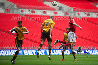 action during the Newport County v Wrexham Blue Sq. Bet Premier league playoff final at Wembley Stadium, London, England Sunday 5th May 2013. Credit for pictures to Jeff Thomas Photography - www.jaypics.photoshelter.com - 07837 386244 - Use of images are restricted without prior permission of the copyright owner Jeff Thomas Photography.
