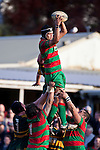 Sam Cole claims lineout ball. Counties Manukau Premier Club Rugby game between Pukekohe and Waiuku played at Colin Lawrie Fields, Pukekohe, on Saturday July 3rd 2010. Pukekohe won 31 - 12 after leading 15 - 9 at halftime.