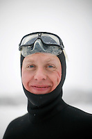 Steinar Schager (Norway). Freediving competition Oslo Ice Challenge at freshwater lake Lutvann outside the Norwegian capital Oslo. Atheletes, including current and former world champions, entered a hole in the ice to compete. The participants reached depths down to 52 meters below the surface.