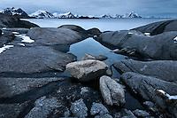 Rugged rocky coastline of Vestvågøy, Stamsund, Lofoten islands, Norway