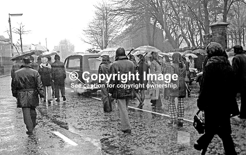 The Belfast funeral, 23rd November 1974, of James McDade, 26 years, married, 1 child, Roman Catholic, lieutenant, Provisional IRA,  Birmingham, England, who died when bomb he was planting at a telephone exchange / sorting office in Coventry exploded prematurely. He was a native of the Ardoyne district of Belfast, N Ireland. 197411230651b..Copyright Image from Victor Patterson, 54 Dorchester Park, Belfast, United Kingdom, UK...For my Terms and Conditions of Use go to http://www.victorpatterson.com/Victor_Patterson/Terms_%26_Conditions.html
