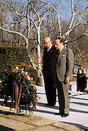 Virginia, USA - February 15, 1972. André Malraux visits the gravesite of U.S. President John F. Kennedy, in Arlington National Cemetery. He also met and consulted with American President Richard Nixon before leaving for China. André Malraux (November 3, 1901 - November 23, 1976) was a French art theorist, novelist, he wrote the 1933 Prix Goncourt winning novel La Condition Humaine, and was the Minister for Cultural Affairs during Charles de Gaulle's presidency from 1959 - 1969.