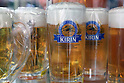Apr 10, 2010 - Tokyo, Japan - Imitation pint glasses are displayed at a restaurant supply store located in Kappabashi street in Tokyo on April 10, 2010. Kappabashi-dori, also known just as Kappabashi or Kitchen Town, is almost entirely populated with shops supplying mass-produced crockery, restaurant furniture, ovens and decorations, through to esoteric items such as the plastic display food  (sampuru). Replica foods are also popular as souvenirs for tourists.