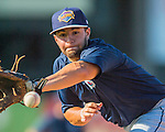 29 July 2016: Brooklyn Cyclones infielder Blake Tiberi warms up prior to a game against the Vermont Lake Monsters at Centennial Field in Burlington, Vermont. The Lake Monsters fell to the Cyclones 8-5 in NY Penn League action. Mandatory Credit: Ed Wolfstein Photo *** RAW (NEF) Image File Available ***