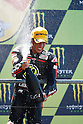 May 23, 2010 - Jerez, Spain  - Gresini Racing's Spanish Toni Elias celebrates on the podium at the French Grand Prix on May 23, 2010. (Photo Andrew Northcott/Nippon News)..