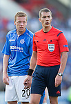 St Johnstone v FC Luzern...24.07.14  Europa League 2nd Round Qualifier<br /> Scott Brown gets in the ar of ref Jonathan Lardot<br /> Picture by Graeme Hart.<br /> Copyright Perthshire Picture Agency<br /> Tel: 01738 623350  Mobile: 07990 594431
