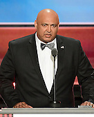 Sajid Tarar, Founder, American Muslims for Trump, makes remarks at the 2016 Republican National Convention held at the Quicken Loans Arena in Cleveland, Ohio on Tuesday, July 19, 2016.<br /> Credit: Ron Sachs / CNP<br /> (RESTRICTION: NO New York or New Jersey Newspapers or newspapers within a 75 mile radius of New York City)