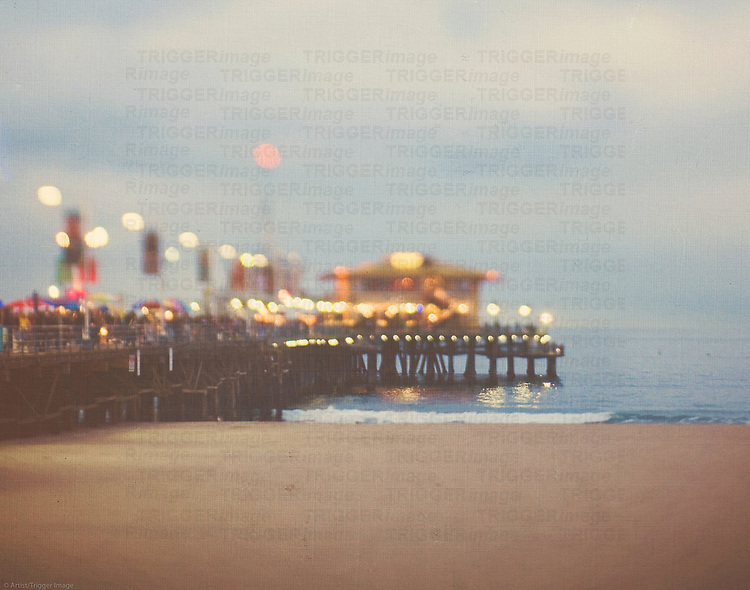 Santa Monica pier at night, with bokeh lights
