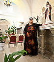 Iraq - Kurdistan - Ankawa - An old Christian woman posing inside Saint George Church.