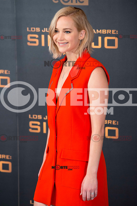 Actress Jennifer Lawrence during the presentation of film &quot;The Hunger Games: Sinsajo Part 2&quot; in Madrid, Novermber 10, 2015.<br /> (ALTERPHOTOS/BorjaB.Hojas)