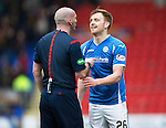 St Johnstone v Motherwell&hellip;20.02.16   SPFL   McDiarmid Park, Perth<br />Liam Craig gets a lecture from Ref Bobby Madden<br />Picture by Graeme Hart.<br />Copyright Perthshire Picture Agency<br />Tel: 01738 623350  Mobile: 07990 594431