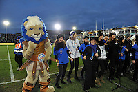 Bath Rugby Maximus joins in with the half-time choir. Aviva Premiership match, between Bath Rugby and Northampton Saints on December 5, 2015 at the Recreation Ground in Bath, England. Photo by: Patrick Khachfe / Onside Images