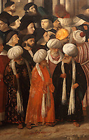 Detail of Martirio di San Marco, or The Martyrdom of St Mark, with onlookers in European, Mamluk and Ottoman costume, Renaissance painting by Giovanni Bellini, 1430-1516, and Vittore Belliniano, 1456-1529, in the Gallerie dell'Accademia, Venice, Italy. The painting was commissioned in 1515 and finished by Belliniano in 1526, after the death of Bellini. St Mark was martyred in 68 AD in Alexandria, by being tied up and dragged through the streets (right). It was originally painted for the Sala dell'Albergo of the Scuola Grande di San Marco. Picture by Manuel Cohen