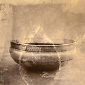 Mixed medium art photograph of a weathered metal bowl from India with painted overlay. &quot;Yoga is for every body&quot;. Ganga White
