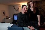 CANTON, MA.-- November 27, 2009--Brendan Burke and his sister, Molly, at his mother Kerry's home in Canton, Massachusetts. Burke, son of Maple Leaf's general manager Brian Burke, revealed in and ESPN.com article that he was gay. Burke, who died Feb. 5, 2010, in a car accident in Indiana, was student manager of the Miami University hockey team. PHOTO BY JODI HILTON