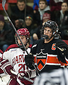 Ryan McGregor (Harvard - 20), Jack Berger (Princeton - 9) - The Harvard University Crimson defeated the Princeton University Tigers 3-2 on Friday, January 31, 2014, at the Bright-Landry Hockey Center in Cambridge, Massachusetts.