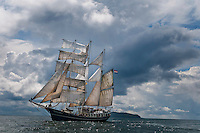 Dutch Tallship Thalassa Barquentine sails the Irish coast and the Hebrides