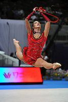 September 8, 2009; Mie, Japan;  Joanna Mitrosz of Poland performs split leap with rope during qualification round at 2009 World Championships Mie. Joanna was a 2008 Olympian for Poland at the Beijing Olympics. Photo by Tom Theobald.