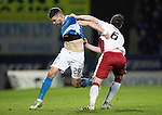 St Johnstone v Rangers&hellip;28.12.16     McDiarmid Park    SPFL<br />Graham Cummins and Danny Wilson engage in some shirt pulling<br />Picture by Graeme Hart.<br />Copyright Perthshire Picture Agency<br />Tel: 01738 623350  Mobile: 07990 594431