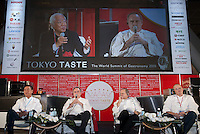 A panel discussion at Tokyo Taste, The World Summit of Gastronomy 2009. 9 February 2009,Tokyo, Japan. From left to right: Nobuyuki Matsuhisa, Ferran Adria, Joel Robuchon and Heston Blumenthal. Many of the world's top chefs are assembled for the sold-out 3 day event in the center of Tokyo.