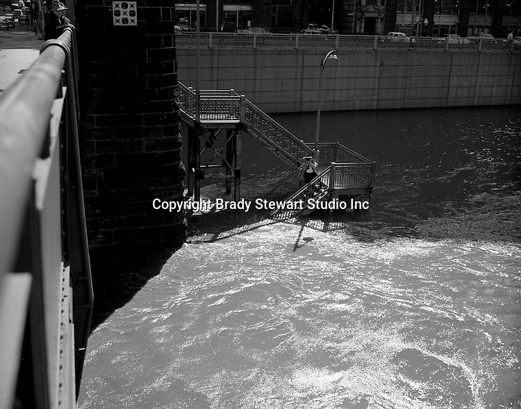 Pittsburgh PA:  Allegheny River flood waters under the 7th Street Bridge - 1956