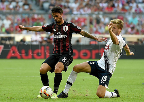 05.08.2015, Munich, Germany. Audi Cup 3rd place game. Tottenham Hotspur versus AC Milan.  Suso Fernandez Saenz (AC Milan. ) tackled by Eric Dier (Tottenham Hotspur)