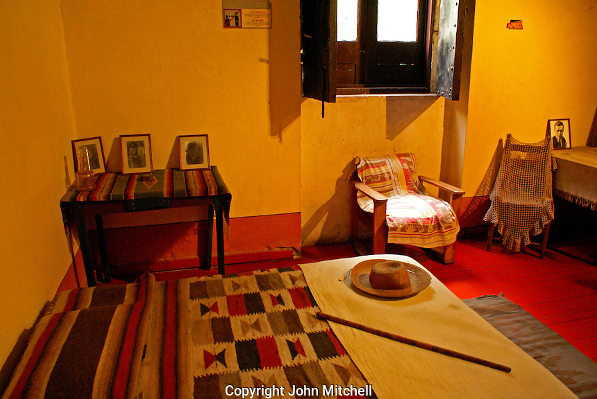 Leon Trotsky's bedroom in the Museo Casa de Leon Trotsky or Leon Trotsky House Museum in Coyoacan, Mexico City