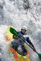 Mike Abott. Kayak downhill race in the Brandseth river. The Extremesport Week, Ekstremsportveko, is the worlds largest gathering of adrenalin junkies. In the small town of Voss enthusiasts in a varitety of extreme sports come togheter every summer to compete and play.