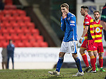 St Johnstone v Partick Thistle&hellip;02.03.16  SPFL McDiarmid Park, Perth<br />David Wotherspoon holds his head<br />Picture by Graeme Hart.<br />Copyright Perthshire Picture Agency<br />Tel: 01738 623350  Mobile: 07990 594431
