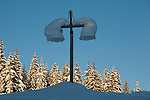 A light post covered with snow and ice at Lolo Pass in Montana