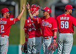 11 March 2016: Philadelphia Phillies infielder J.P. Crawford celebrates with teammates after a Spring Training pre-season game against the Atlanta Braves at Champion Stadium in the ESPN Wide World of Sports Complex in Kissimmee, Florida. The Phillies defeated the Braves 9-2 in Grapefruit League play. Mandatory Credit: Ed Wolfstein Photo *** RAW (NEF) Image File Available ***
