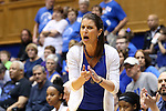 21 February 2016: Duke head coach Joanne P. McCallie. The Duke University Blue Devils hosted the Georgia Tech Yellow Jackets at Cameron Indoor Stadium in Durham, North Carolina in a 2015-16 NCAA Division I Women's Basketball game. Georgia Tech won the game 64-59.