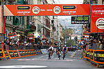 Michal Kwaitkowski (POL) Team Sky outsprints World Champion Peter Sagan (SVK) Bora-Hansgrohe and Julian Alaphilippe (FRA) Quick-Step Floors to win the 108th edition of Milan-San Remo 2017 by NamedSport the first Classic Monument of the season running 291km from Milan to San Remo, Italy. 18th March 2017.<br /> Picture: La Presse/Simone Ferraro | Cyclefile<br /> <br /> <br /> All photos usage must carry mandatory copyright credit (&copy; Cyclefile | La Presse)