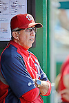 16 June 2012: Washington Nationals Manager Davey Johnson, watches play from the dugout during a game against the New York Yankees at Nationals Park in Washington, DC. The Yankees defeated the Nationals in 14 innings by a score of 5-3, taking the second game of their 3-game series. Mandatory Credit: Ed Wolfstein Photo